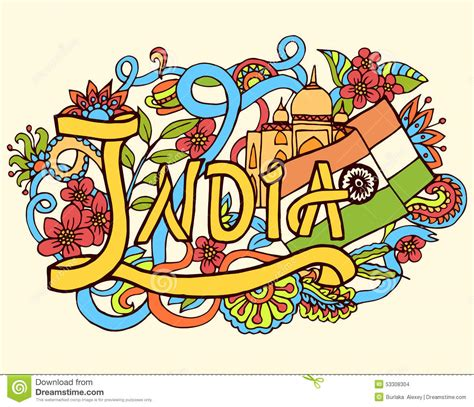 indian doodle artists india abstract lettering and doodles stock vector