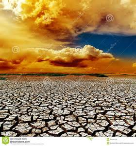 Dramatic Colors by Dramatic Clouds Over Drought Earth Stock Photo Image