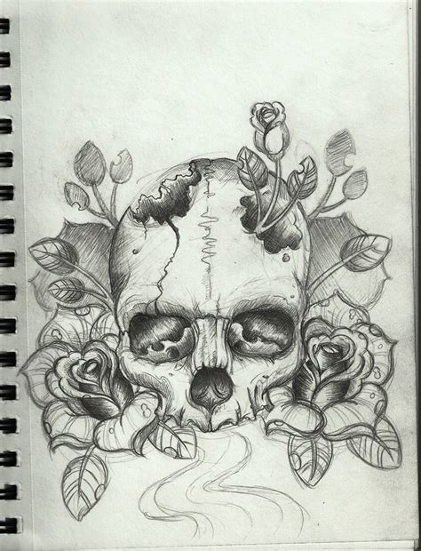 rose head tattoo designs drawing skull sketch