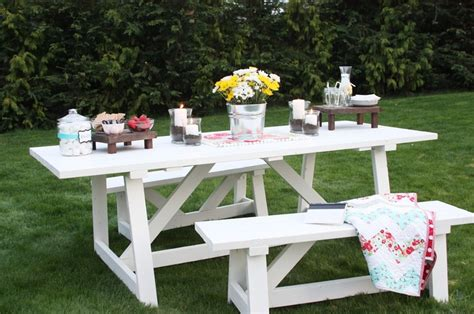 white picnic bench ana white picnic table building gardening and decoration pinterest gardens
