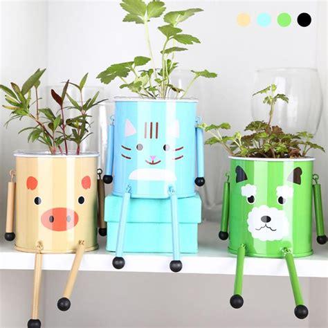 Pot Anggrek Dari Kayu 1 Set diy armored pet mini bonsai tin plate iron plants flower planter pot with seeds for indoor