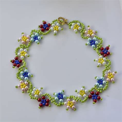 how to make flower jewelry how to make colorful flower pearl and seed necklace