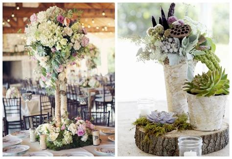 beautiful blooms birch tree centerpieces