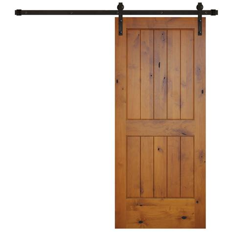 Pacific Entries 36 In X 84 In Rustic 2 Panel V Groove Barn Door Doors