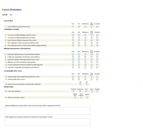 Course Evaluations Brandeis University Course Evaluation Template