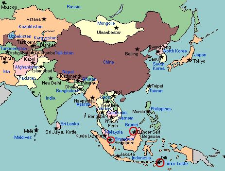 asia map with country names and capitals asia map with country names and capitals