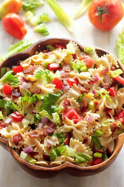 easy pasta salads 20 minute blt easy pasta salad baker by nature