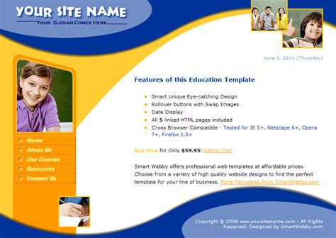 html education templates free smart education template