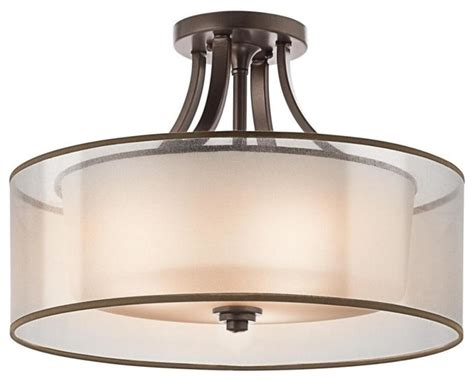 Drum Ceiling Light Flush Mount Kichler 4 Light Mission Bronze Drum Shade Semi Flush Mount Transitional Flush Mount