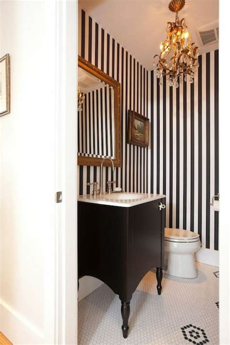 Bathroom Wallpaper Stripes by Black Powder Room Cottage Bathroom The Hydrangea