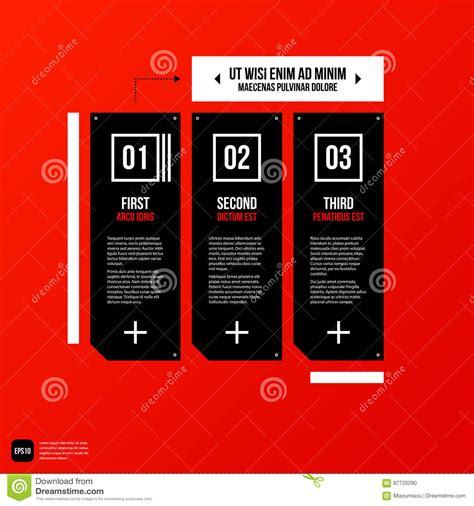 elements of layout in advertising corporate template on red background cartoon vector