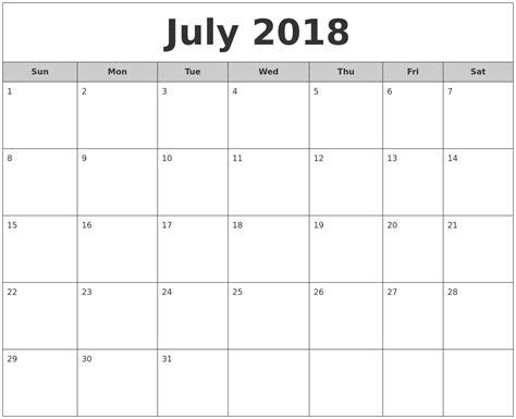 july monthly calendar