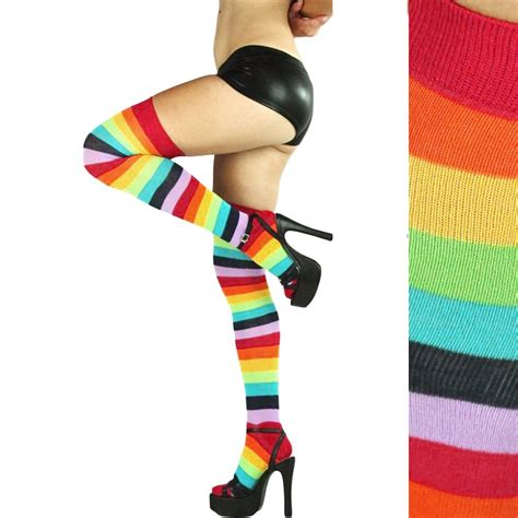 colorful knee high socks fashion polyester the knee socks rainbow colorful