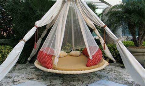 outdoor round swing bed diy troline swing bed for ultimate outdoor lounging