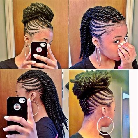 braided hairstyles to the scalp two strand twist mohawk updo protective styling natural
