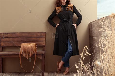 bench trench coat suede stock photos offset