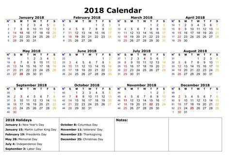 printable calendar 2018 with holidays holiday calendar 2018