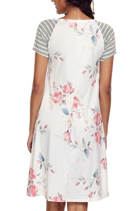 Print T Shirt A Line Dress by Us 5 9 White Backdrop Floral Print A Line T Shirt Dress