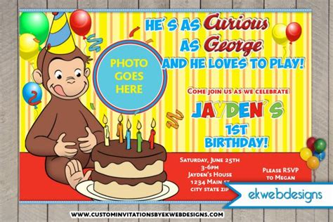 curious george birthday card template curious george birthday invitations custom photo invite