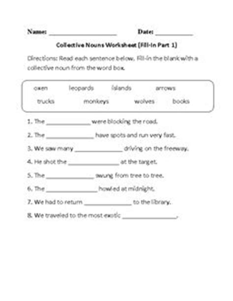 Collective Nouns Worksheets For Grade 6 by Collective Nouns Worksheet Circling Part 1 Beginner