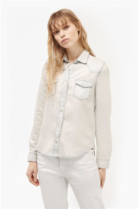White Denim Shirt by Classic Western Denim Shirt Collections Connection