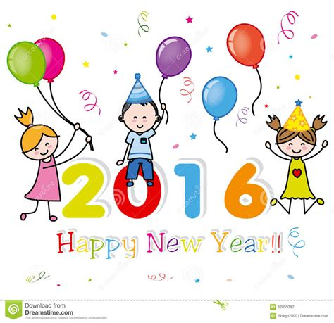 new year children s happy new year 2016 stock vector illustration of confetti