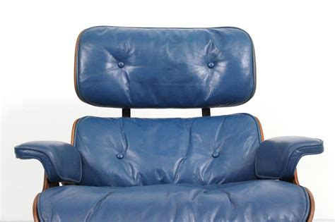 blue leather chair and ottoman blue leather eames lounge chair and ottoman for sale at
