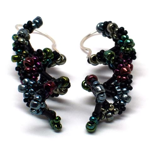 bead loom earrings gwenbeads dna helix bead weaving earrings