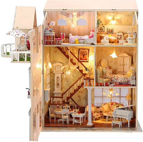 hand made doll house doll house with wooden handmade dollhouse miniature diy cake love all furniture