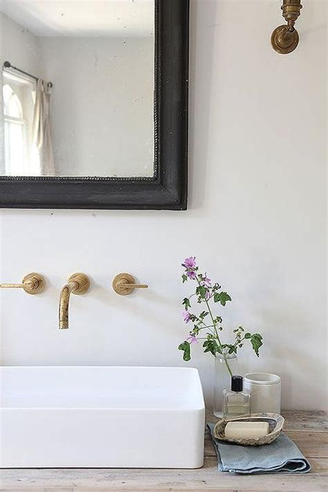 wall mount vessel sink faucets reclaimed wood sink vanity with vessel sink and aged brass