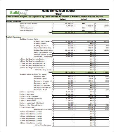 4 renovation budget template