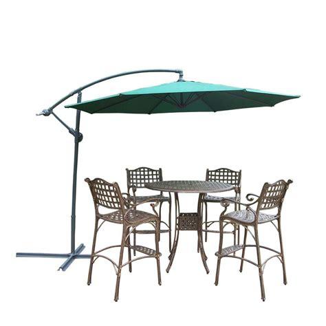 Bar Height Patio Umbrella oakland living 6 aluminum patio bar height dining set and cantilever umbrella hd1101