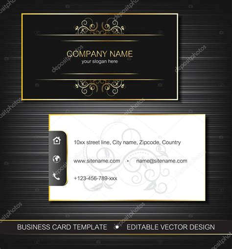 Business Card Layout Template For Front And Back Printing by Business Card Template With Gold Front And Back