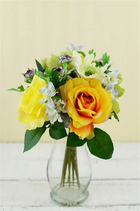 Rose & Gerbera Daisy Bouquet Yellow & Orange 12in