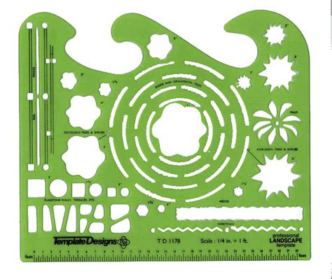 Alvin Td1178 Landscape Design Drafting Template Stencil Garden Design Drawing Templates