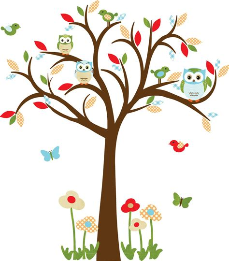 owl tree wall sticker owl decal nursery decal childrens wall decal owl tree wall