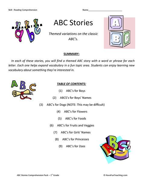 printable alphabet stories first grade reading comprehension worksheets 1st grade