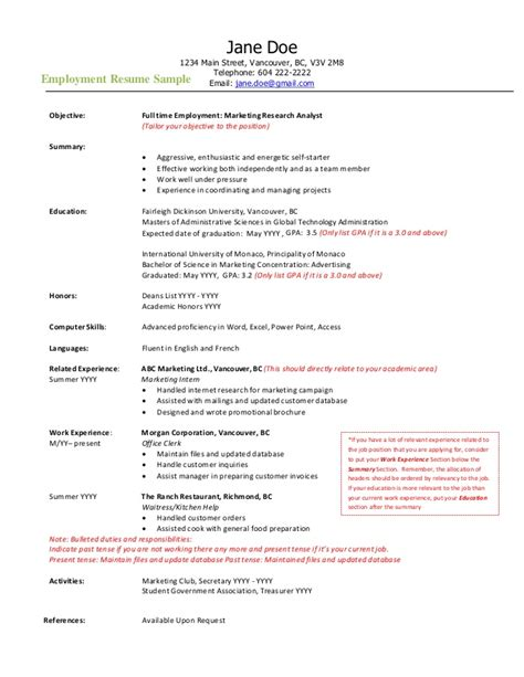 Resume Samples Vancouver by Employment Resume Sample