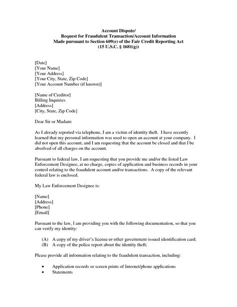 Dispute Letter Format To Creditor Section 609 Credit Dispute Letter Template Articleezinedirectory