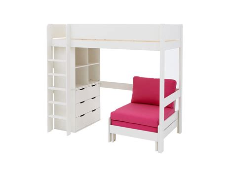 High Sleeper With Futon And Desk by Tinsley Highsleeper White And Pink Dreams