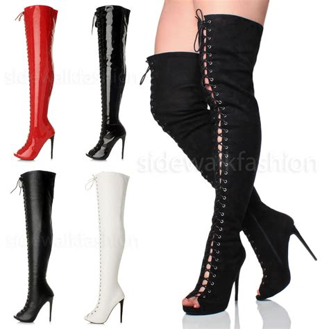 thigh high boots womens stiletto high heel lace up zip the knee