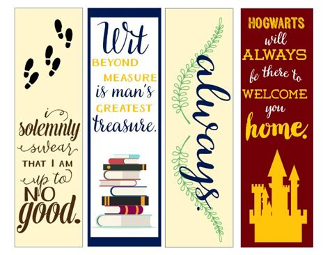 nice printable bookmarks harry potter bookmarks jchiles thumbnail nerdy