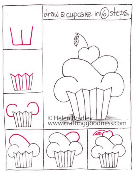step by step how to draw a cupcake crafting goodness