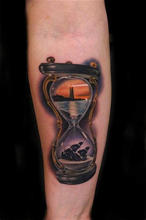 lighthouse and sinking ship hourglass tattoo by andres