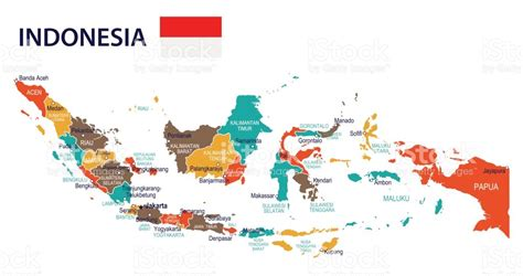 printable peta indonesia 17 indonesia map red green brown yellow 10 stock vector