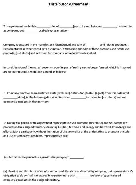 simple distribution agreement template simple distribution agreement template product