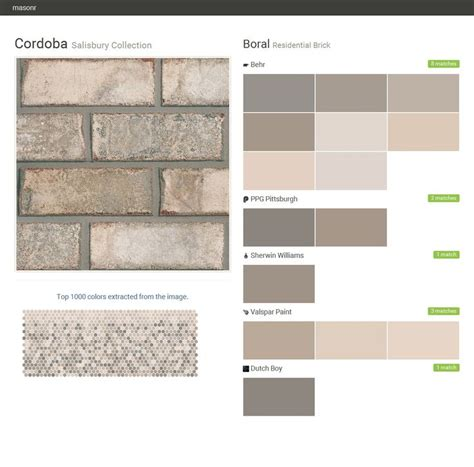 cordoba salisbury collection residential brick boral behr ppg paints sherwin williams