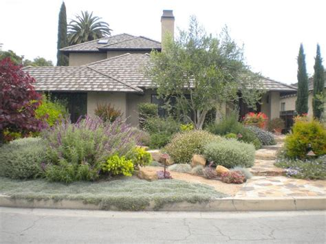 California Landscaping Ideas Layered Landscape Of Mediterranean Plants Xeriscape And Succulents Pinterest Front Yards