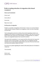 letter accepting retraction resignation cipd hr inform