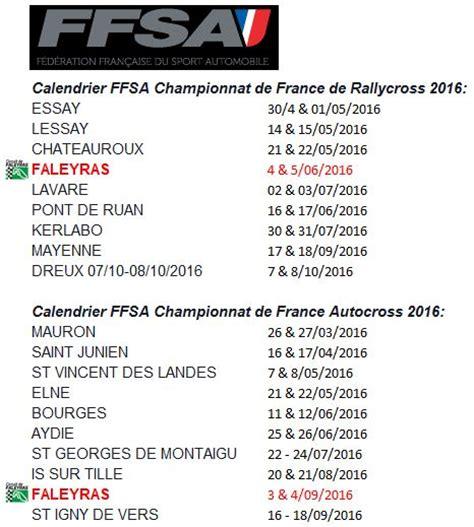 Calendrier V 2016 Calendrier Ffsa 2016 Chionnats De Rallycross Et